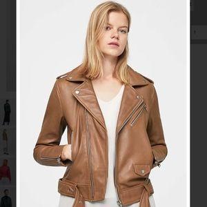 MANGO Leather biker jacket Cognac